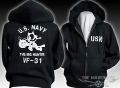 米海軍フェリックス・スウェットパーカー黒白L.新品/ミリタリー