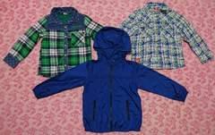 子供服3点セット/チェックシャツ/シャカシャカ/ベビードール