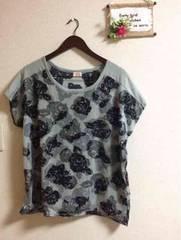 3L☆シフォン2枚仕立て薔薇柄グレードルマンTシャツ