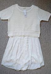 ♪新品Lilidiaオフホワイト透かし編みニット、ワンピセット♪0