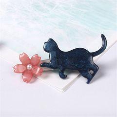 新品ゴスロリ姫系アンティーク調桜と黒猫ネコちゃんヘアクリップ