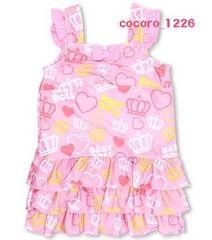 新品BABYDOLL☆ハート&王冠柄 フリル ワンピース水着 110 ピンク ベビードール