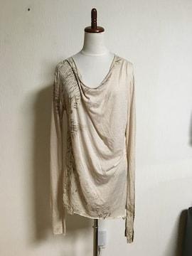 14th addiction ドレープ ダメージ カットソー クロス Tシャツ