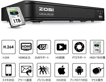 ブラック 改良版8チャンネレコーダー+1TB「1080P」 ZOSI CCTV 8C