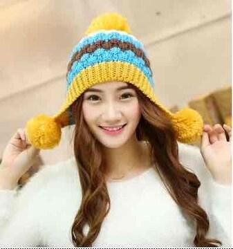 【新品】ボンボン付カラフルニット帽 フリーサイズ イエロー