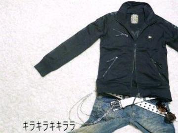 ●MIDAS●バック刺繍★ラインレザー調*ジャージジャケットブラックL