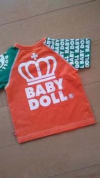 中古ラグランTシャツ80オレンジ★ベビドBABYDOLLベビードール