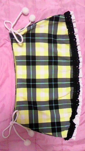 ViVifleurs〓チェック柄三角ビキニ水着〓ボンボンリボンクロシェスカート3点セット〓黄 < 女性ファッションの