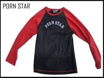 新品 90代コレクタ品 PORN STAR ロングT  赤xブラック色