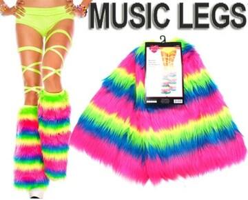 A064)LA発MusicLegs蛍光レインボーファーレッグウォーマーネオンカラーダンス衣装ダンサー