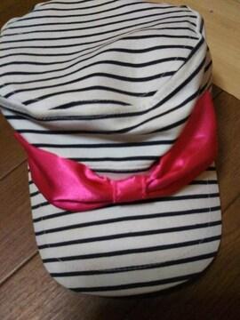 ★オシャレデザイン キャップ 帽子 リボンポイント サイズ54センチ●