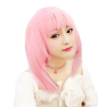 ウィッグ コスプレ ピンク ミディアム 7018