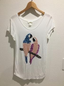 H&M エイチ&エム 半袖 tシャツ トップス レディース スパンコール 鳥 インコ 白