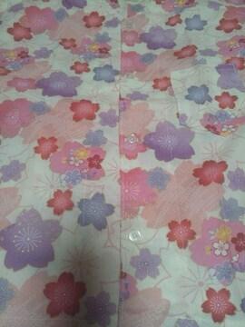 ☆処分品=白×桜和柄ダボシャツ120