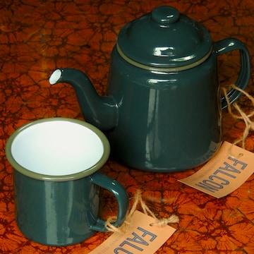 ファルコン英国伝統ホーロー食器ティーポット&マグsetティール