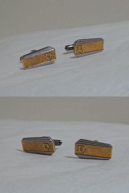 正規レア ディオール Diorロゴストライプラインカフス ゴールド×シルバー カフリンクス ボタン < ブランドの