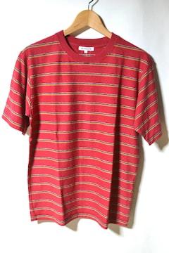 新品 グローバルワーク ボーダーTシャツ レッド 半袖 メンズ S