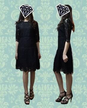 デート結婚式パーティー全体黒レースワンピースドレス(L)新品