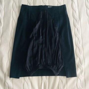 チャラヤン 3万 異素材 膝丈スカート ネイビー