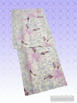 【和の志】夏の洗える着物◇紗Mサイズ◇クリーム系・ゆり◇92