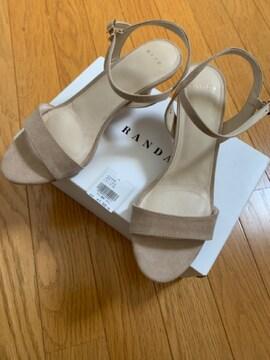 ランダRANDAベージュサンダルミュールL24.0新品5900円+スエード