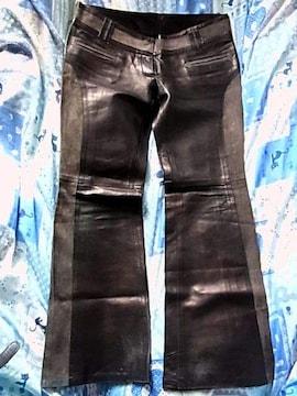 D&Gドルチェ&ガッバーナ レザーパンツ46ブーツカット黒色グレー