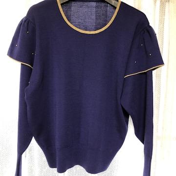 肩フリルネイビーセーター 2Lサイズ