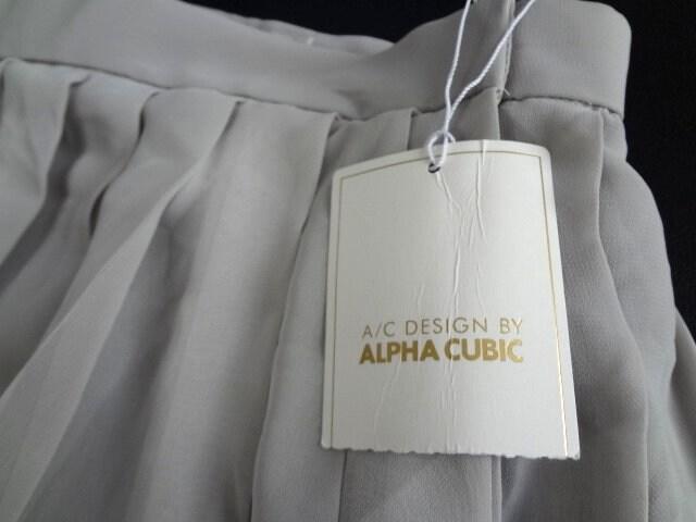 新品 ALPHA CUBIC シフォン プリーツ マキシ丈スカート L < ブランドの