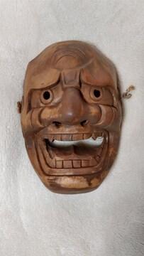 能面 レトロ 木彫り お面 魔よけ おみやげ 厄除け インテリア