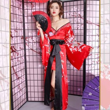 サテン花車リボンロング着物ドレス 花魁 コスプレ 和柄 衣装 ダンス よさこい