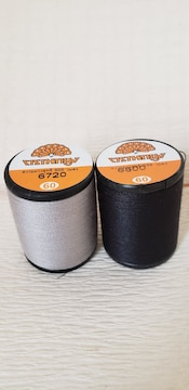 500m巻きミシン糸2本 <グレー・黒>各1本 60番普通地用 ポリエステル100%