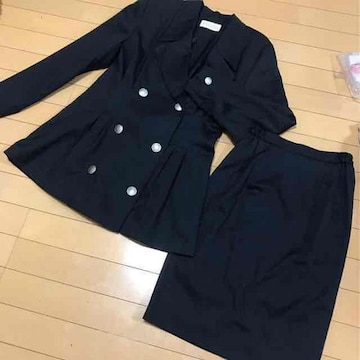 濃紺ネイビー◆スカートスーツ◆日本製9号