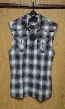 ROENロエン スワロフスキースカルノースリーブチェックシャツ 44