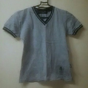 used★カノコ生地のvネックショート丈TシャツM