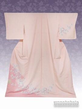 【和の志】洗える着物◇袷・付下げ◇ピンク系・蝶柄◇KTK-115