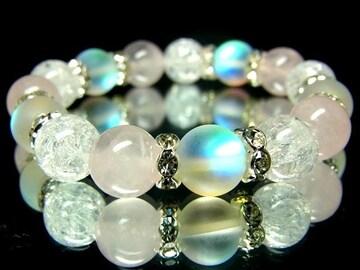 ブルームーンストーン§ローズクォーツクラック水晶10ミリ銀ロンデル数珠