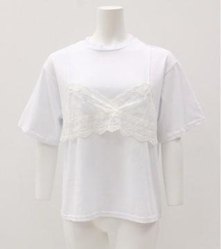 新品未使用タグ付き重ね着風レースブラコンビTシャツホワイト