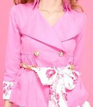 均一sale☆MARS☆裏PNKローズ☆ショートスプリングコート☆ピンク☆S☆超美品