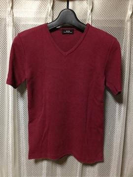 A.P.C. アーペーセー ストレッチ Vネック半袖Tシャツ S〜Mサイズ ワインレッド 小豆色 赤