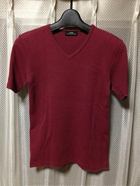 A.P.C. アーペーセー ストレッチ Vネック半袖Tシャツ S〜Mサイズ ワインレッド 小豆色 赤  < ブランドの
