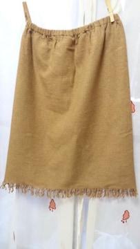 裾フリンジウール混スカートウエストゴムW61〜64