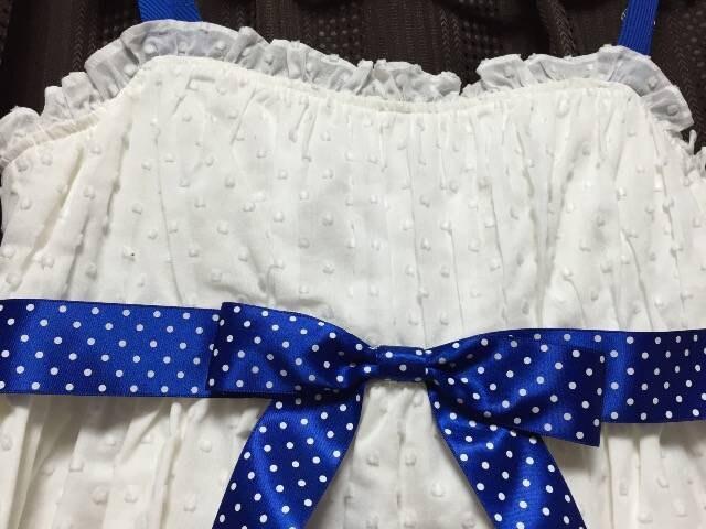 MILK☆新品☆ブルーリボン×白ドットワンピ < ブランドの