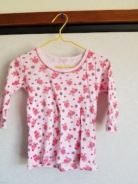ピンクにうさぎとハートとイチゴ模様の長袖シャツ95