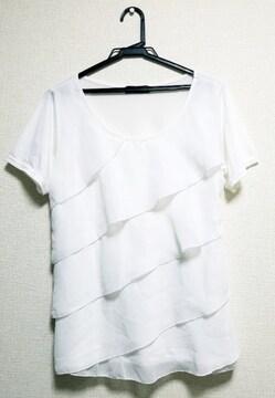☆送料無料☆しまむら☆シフォンレース 半袖カットソー☆ホワイト LL☆