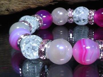 ピンクアゲート§フラッシュローズクォーツ§クラック水晶数珠