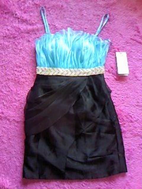 jewels promキラキラパール&ストーン背中編上&ドレープ風ミニドレス新品  < 女性ファッションの