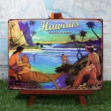 新品【ブリキ看板】Hawaii/ハワイ Outer Islands