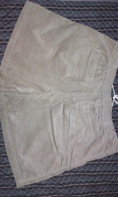 5L大きいサイズコーデュロイショートパンツグレーカジュアルスタイル < 女性ファッションの