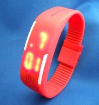 LEDカラフルベルトウォッチRD−腕時計