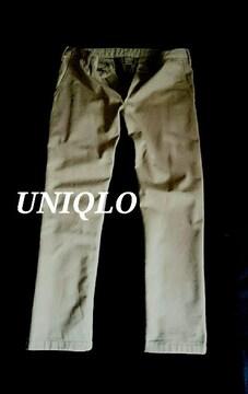 【UNIQLO】ユニクロ 厚手 防風ストレッチスリムフィットチノパンツ W88〜92�p/Beige